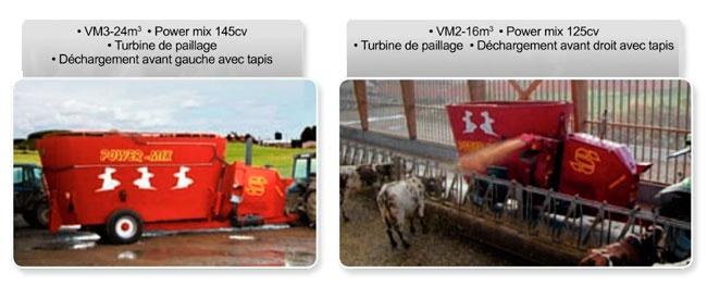 melangeuse remorque agricole : déchargement et turbine de paillage